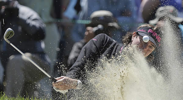 Bubba Watson hits out of a bunker on the fifth hole during the second round of the U.S. Open Championship golf tournament