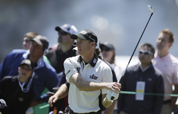 Jim Furyk during the second round of the U.S. Open Championship golf tournament Friday, June 15, 2012, at The Olympic Club in San Francisco. (AP Photo/Charlie Riedel)