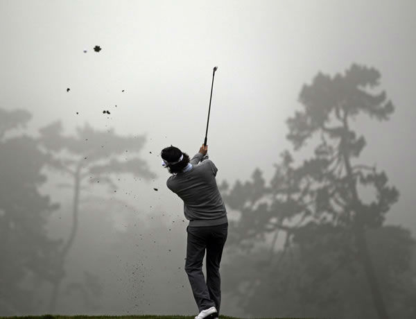 Bubba Watson hits a shot on the second hole during a practice round for the U.S. Open Championship golf tournament Wednesday, June 13, 2012, at The Olympic Club in San Francisco. (AP Photo/David J. Phillip)
