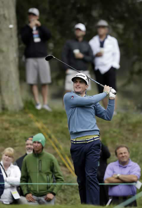Keegan Bradley hits a drive on the sixth hole during a practice round for the U.S. Open Championship golf tournament Wednesday, June 13, 2012, at The Olympic Club in San Francisco. (AP Photo/David J. Phillip)