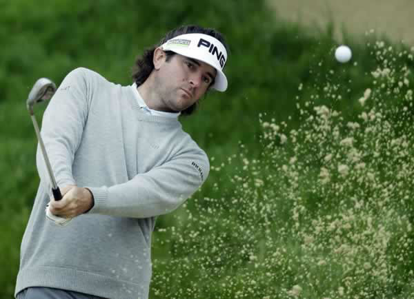Bubba Watson hits out of a bunker on the second hole during a practice round for the U.S. Open Championship golf tournament Wednesday, June 13, 2012, at The Olympic Club in San Francisco. (AP Photo/David J. Phillip)