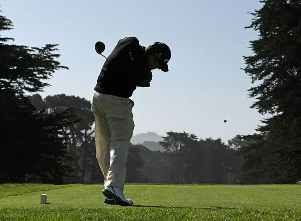 Lee Westwood, of England, hits a drive on the ninth hole during a practice round for the U.S. Open Championship golf tournament Tuesday, June 12, 2012, at The Olympic Club in San Francisco. (AP Photo/Charlie Riedel)