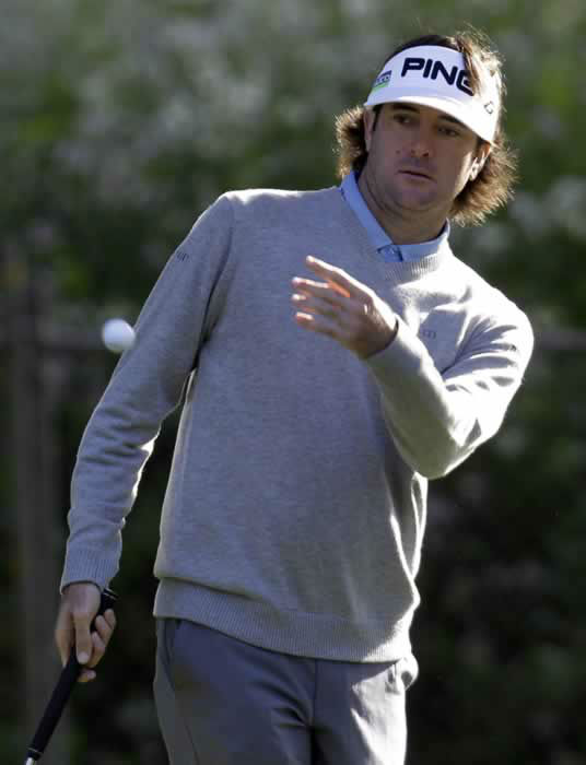 "<div class=""meta ""><span class=""caption-text "">Bubba Watson tosses a ball during a practice round for the U.S. Open Championship golf tournament Tuesday, June 12, 2012, at The Olympic Club in San Francisco. (AP Photo/Eric Gay) </span></div>"