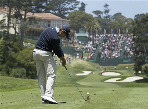 Michael Thompson hits a drive on the 18th hole during the first round of the U.S. Open Championship golf tournament Thursday, June 14, 2012, at The Olympic Club in San Francisco. (AP Photo/Eric Risberg)