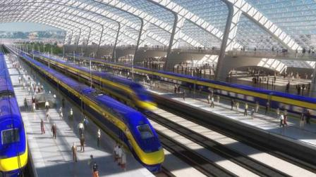 Artists rendering of a high-speed train station