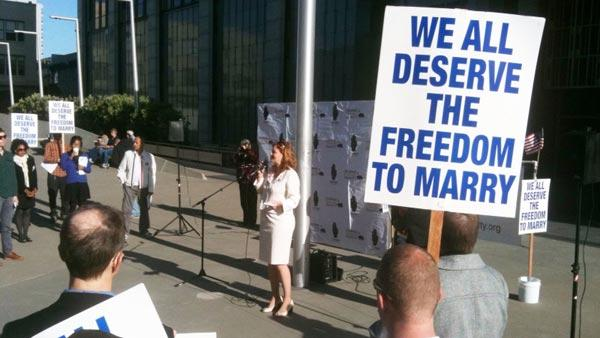 A speaker at a rally before the final day of the Prop 8 trial