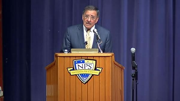 Leon Panetta speaks at Naval Post Graduate School