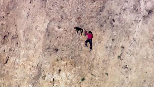 LA firefighters rescue man, dog from cliff face