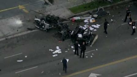 A stolen squad car that was demolished after slamming in to a Starbucks and a light pole in Los Angeles