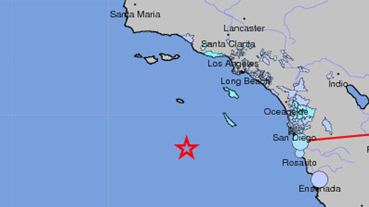 A USGS map indicates the location of an earthquake with a preliminary magnitude of 6.4 in the Pacific Ocean, 163 miles SW of Avalon, on Friday, Dec. 14, 2012.