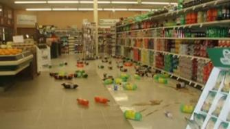 Sodas fell off grocery store shelves during a 5.7 quake in Greenville