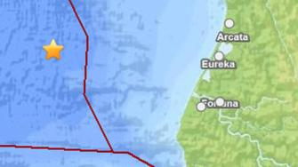 Map of earthquake off the coast of Eureka, (USGS)