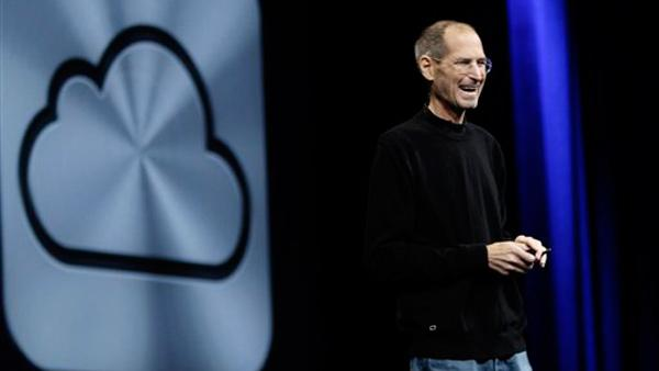 Apple CEO Steve Jobs introduces iCloud during a keynote address to the Apple