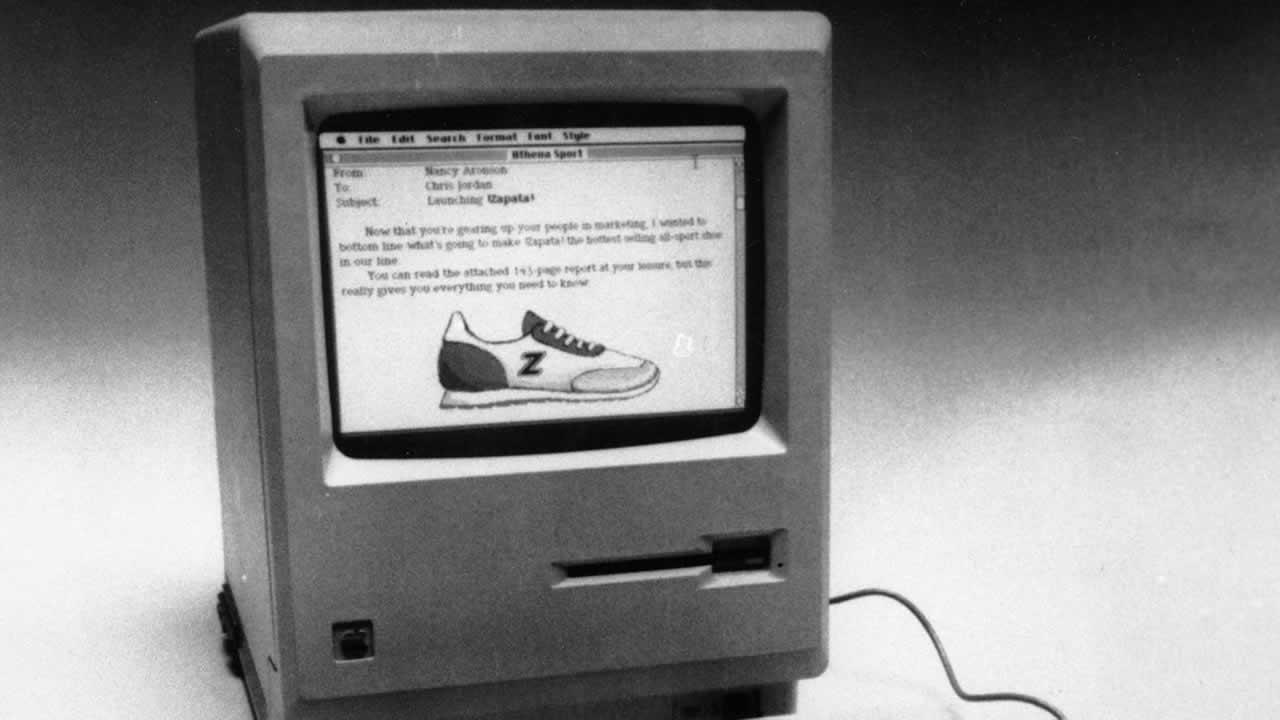 This Jan. 23, 1984, file photo, shows the Apple Macintosh that was unveiled in Cupertino, Calif.. The main console contains a 32 bit microprocessor, a built-in 3 1/2 inch disk drive, a nine inch display, 64k ROM and 128k RAM.