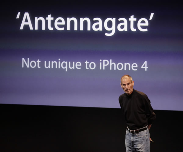 Apple CEO Steve Jobs talks about the Apple iPhone 4 at Apple headquarters in Cupertino, Calif., Friday, July 16, 2010. (AP Photo/Paul Sakuma)