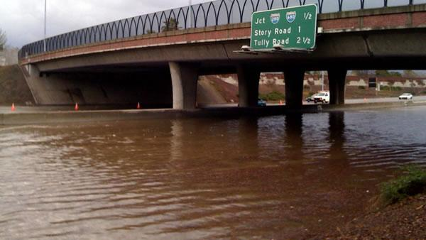 Flooding shuts down southbound Highway 101