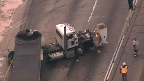 A wrong way driver hit two big rigs on eastbound I-580, shutting down traffic for hours.