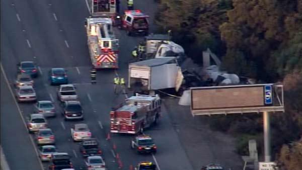 Big-rigs crashed on Highway 92 in Foster City early Friday morning.