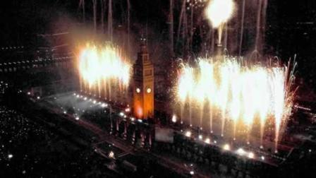 Fireworks explode over the San Francisco Bay and Ferry Building to signal the New Year in San Francisco, Jan. 1, 2000.