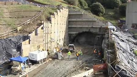 Crews started tunneling on the Oakland side of the expanded Caldecott Tunnel Thursday.