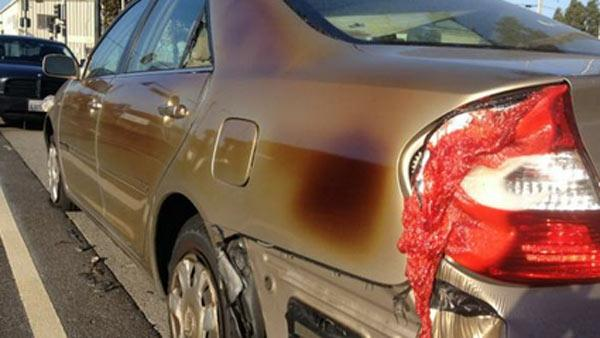 The fire was so hot that it melted nearby cars.