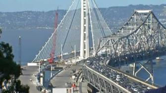 The new and old eastern spans of the Bay Bridge