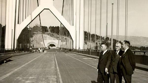 Bridge engineers (l-r) Charles E. Andrew, C. H. Purcell and Glenn Woodruff inspect the West Bay crossing of the San Francisco-Oakland Bay Bridge in 1933.(Photo courtesy baybridgeinfo.org)