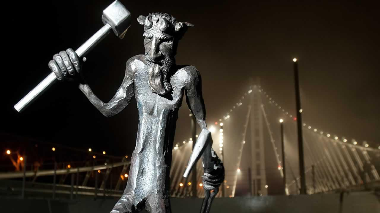 The new troll sculpted for the eastern span of the Bay Bridge.