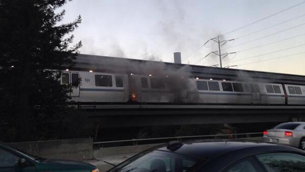 Smoke is seen coming from a BART train at the Orinda station (Photo courtesy lama09/Twitter).