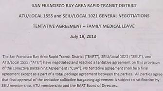 Family medical leave act clause in the BART, union contract