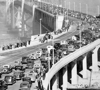 "All the ceremonies were very well attended with more than one million people at the parade alone. The San Francisco Chronicle reported that the opening in 1936 caused ""the greatest traffic jam in the history of San Francisco"". (Photo courtesy baybridgeinfo.org)"