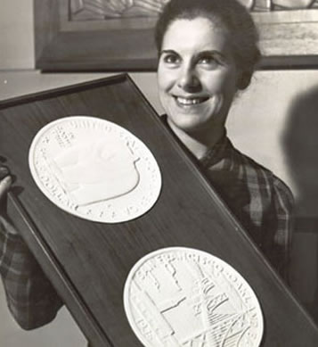 The original model of the United State half dollars in connection with the opening celebration of San Francisco-Oakland Bay Bridge. (Photo courtesy baybridgeinfo.org)
