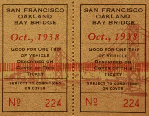 A ticket for a vehicle to cross the Bay Bridge in 1938. (Photo courtesy baybridgeinfo.org)