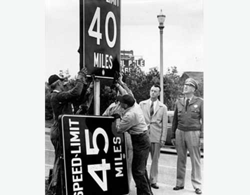 "<div class=""meta ""><span class=""caption-text "">Bay Bridge speed limit being changed from 45 mph to 40 mph in 1950. (Photo courtesy baybridgeinfo.org)</span></div>"