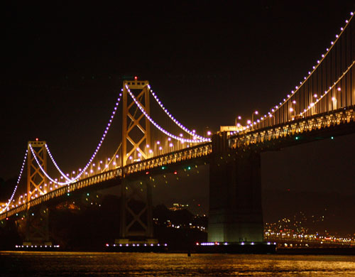 The 50th anniversary celebration of the Bay Bridge began in November, 1986. The series of lights adorning the suspension cables on the West Span was added as part of the bridge's 50th anniversary celebration. (Photo courtesy baybridgeinfo.org)