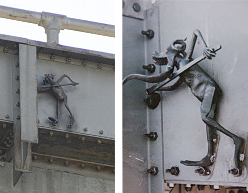 The Bay Bridge Troll was placed on the Bay Bridge during repairs after the 1989 earthquake as a symbol of protection. A group of ironworkers affixed the 18-inch sculpture without knowledge or consent from Caltrans, and it was later discovered by a maintenance worker. It is said to be created by a local Bay Area blacksmith. The troll first came to the public's attention on January 15, 1990 when the San Francisco Chronicle ran a story about the small figure of a troll with a spud wrench that had been welded to the iron below the upper deck on the north side of the bridge. When the original east span is demolished, the troll will be relocated. (Photo courtesy baybridgeinfo.org)