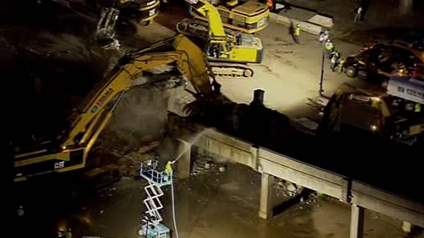 Demolition crews began knocking down the old Doyle Drive structure on Friday night. The closure is the first major step in the seismic safety rebuild of Doyle Drive.