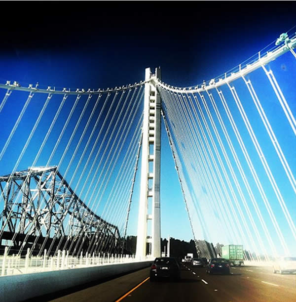 Crossing on new span of #baybridge. I miss the old one :( (Photo courtesy of _baconandbubbles/Instagram)