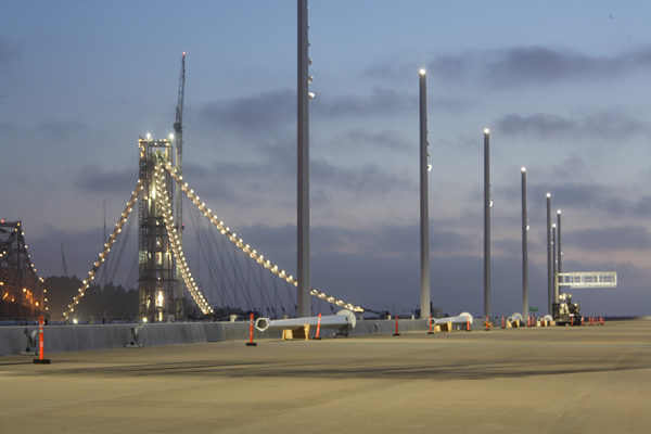 Lighting poles on the new east span of Bay Bridge