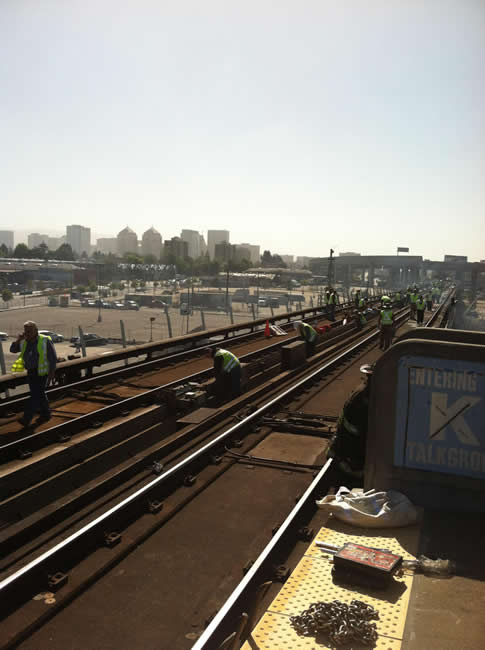 A fire near the West Oakland BART station has disrupted Transbay Tube service.  Work on Bart tracks at west Oakland Thursday, June 14, 2012. <span class=meta>(submitted via uReport)</span>