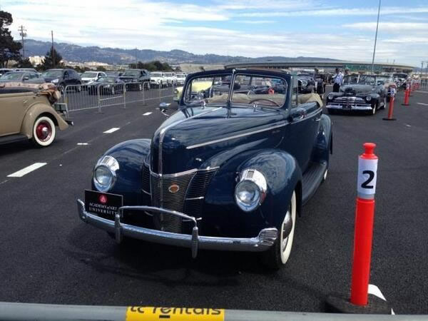 Vintage cars are parked near the toll plaza. They will be the first cars to cross the new span of the Bay Bridge. <span class=meta>(KGO)</span>