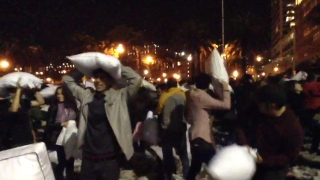 San Franciscos annual Valentines Day pillow fight at Justin Herman Plaza drew a large crowd. February 14,2014