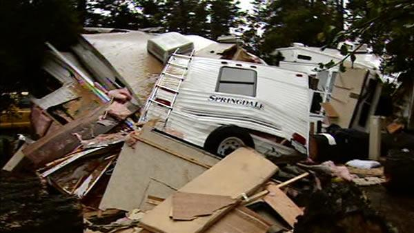 Heavy rain topples large tree, destroys 2 RVs