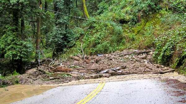 Mudslide on Glenwood Drive in Santa Cruz. (Photo submitted via uReport)