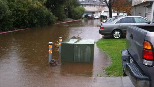 Flooding in Novato on Trinity Drive