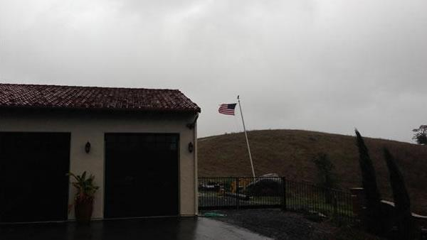 Flag in Morgan Hill still flying during the storm