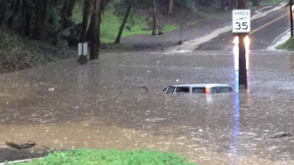 Flooded vehicle on Shepard canyon in Oakland