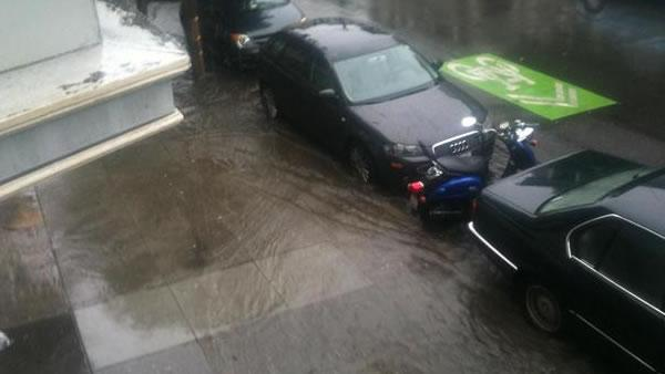 Flooding on Pierce St. between Haight and Waller in San Francisco
