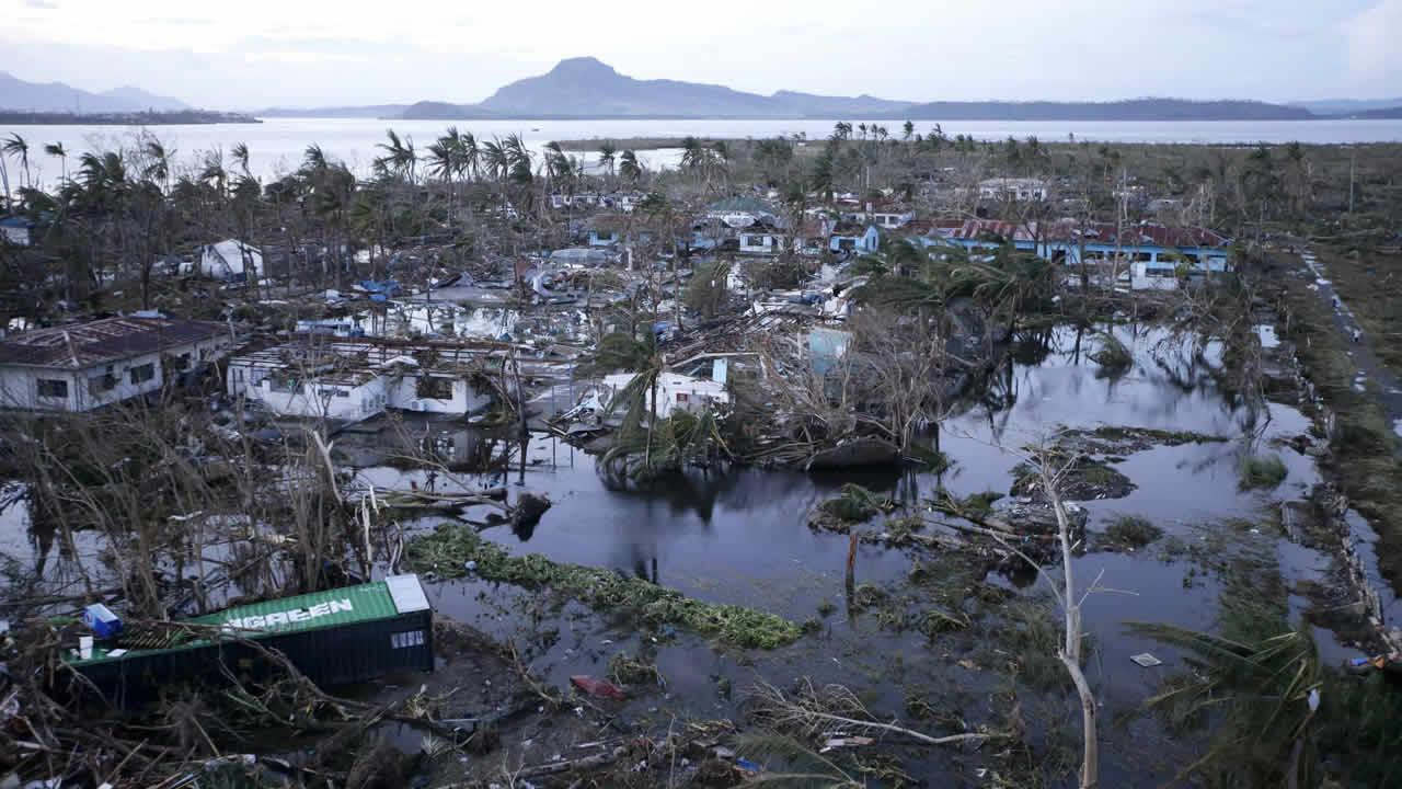 Tacloban city, devastated by powerful Typhoon Haiyan, is seen in Leyte province, central Philippines Saturday, Nov. 9, 2013