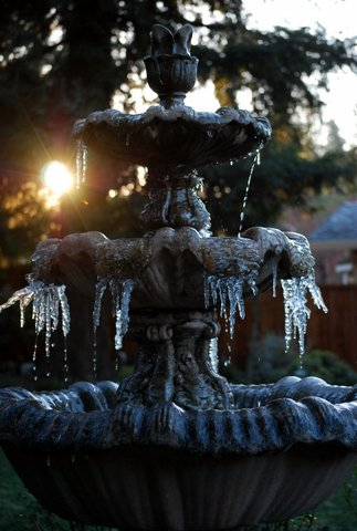 Fountain icicles in Danville <span class=meta>(photo submitted by Toni Baur via uReport)</span>